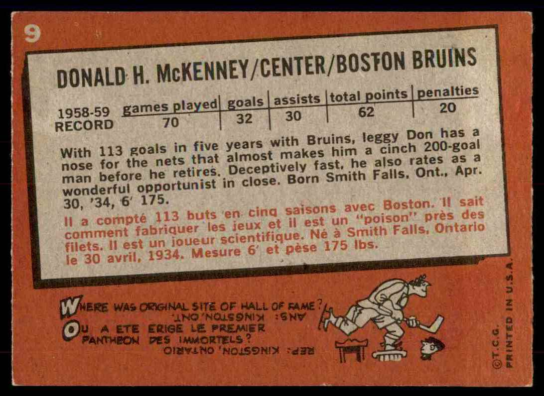 1959-60 Topps Topps Don McKenny #9 card back image