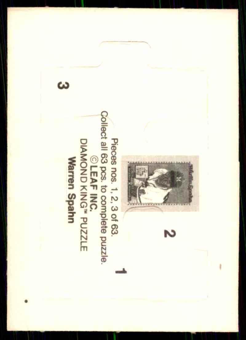 1989 Donruss Warren Spahn Puzzle Spahn Puzzle 1-3 #1 card back image