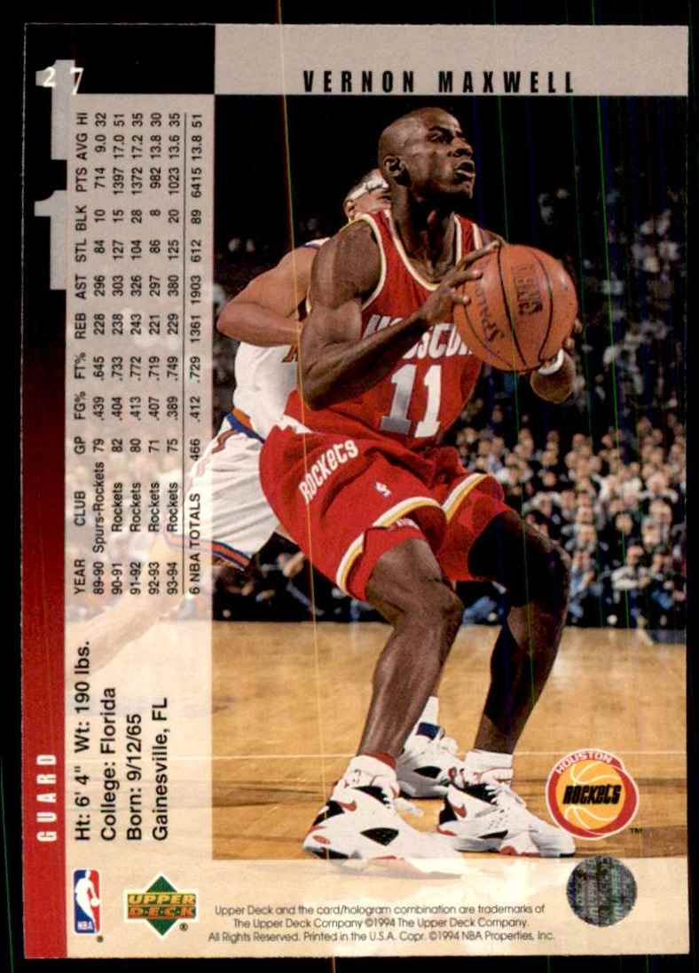1994-95 Upper Deck Vernon Maxwell #27 card back image