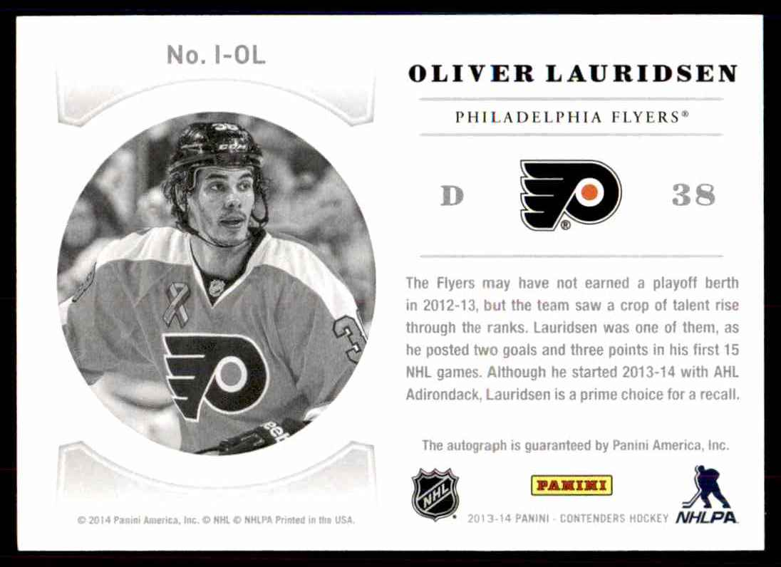 2013-14 Panini Contenders NHL Ink Olivier Lauridsen #I-OL card back image