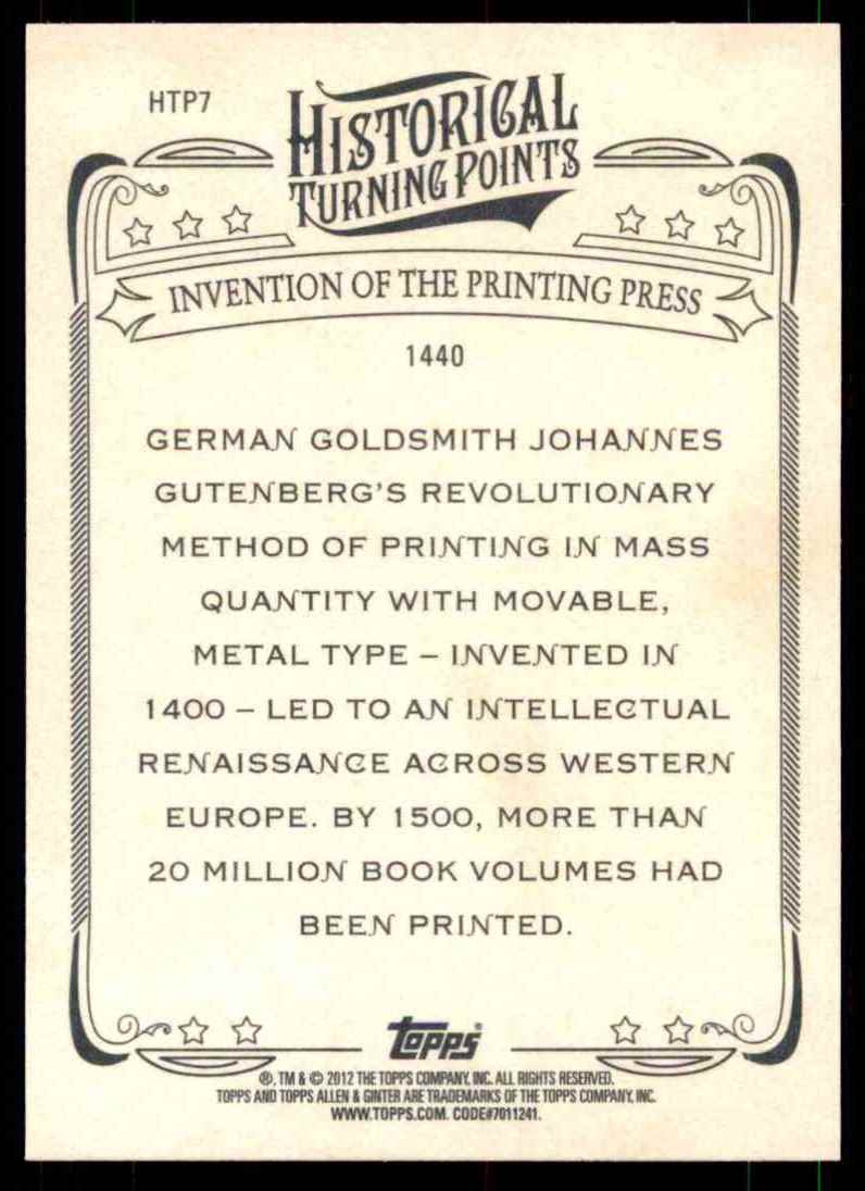 2012 Topps Allen And Ginter Historical Turning Points Invention Of Printing Press #HTP7 card back image