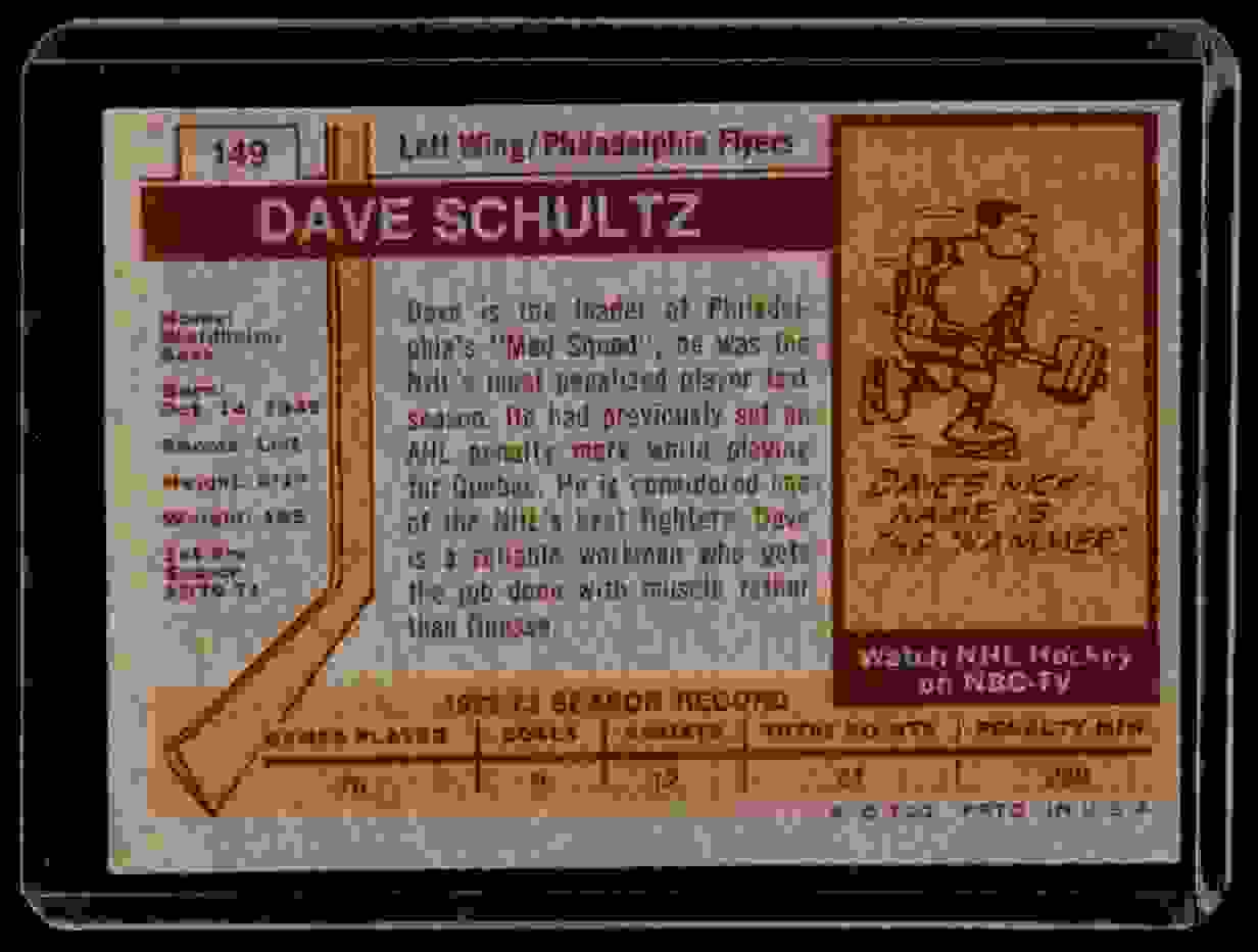 1973-74 Topps Dave Schultz #149 card back image