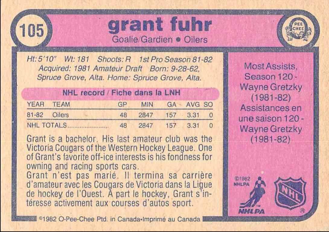 1982-83 O-Pee-Chee Grant Fuhr #105 card back image