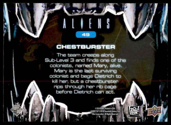 2018 Aliens Chestburster #49 card back image