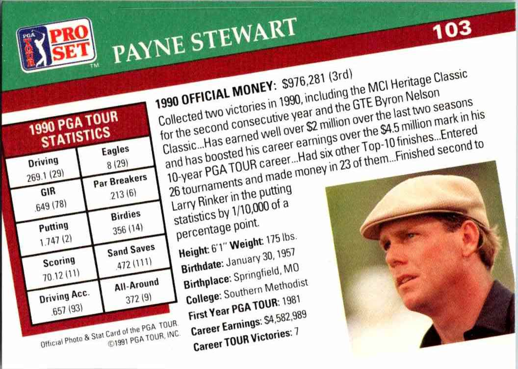 1991 Pro Set Payne Stewart #103 card back image