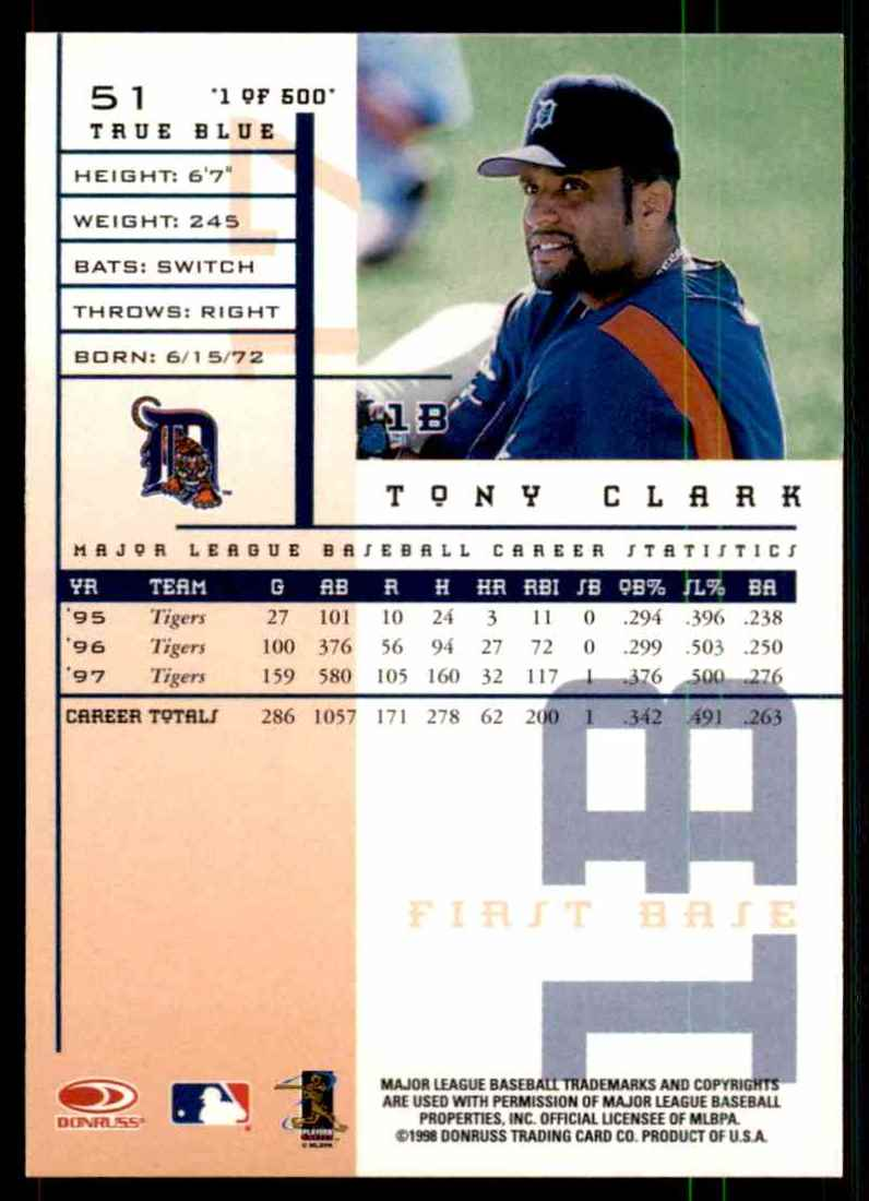 1998 Leaf Rookies & Stars True Blue Tony Clark #51 card back image