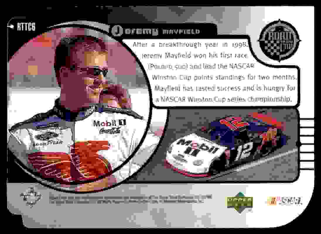 1999 Upper Deck Road To The Cup Road To The Cup Silver Level 2 Jeremy Mayfield #RTTC6 card back image