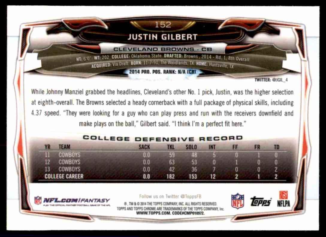 2014 Topps Chrome Justin Gilbert RC #152 card back image