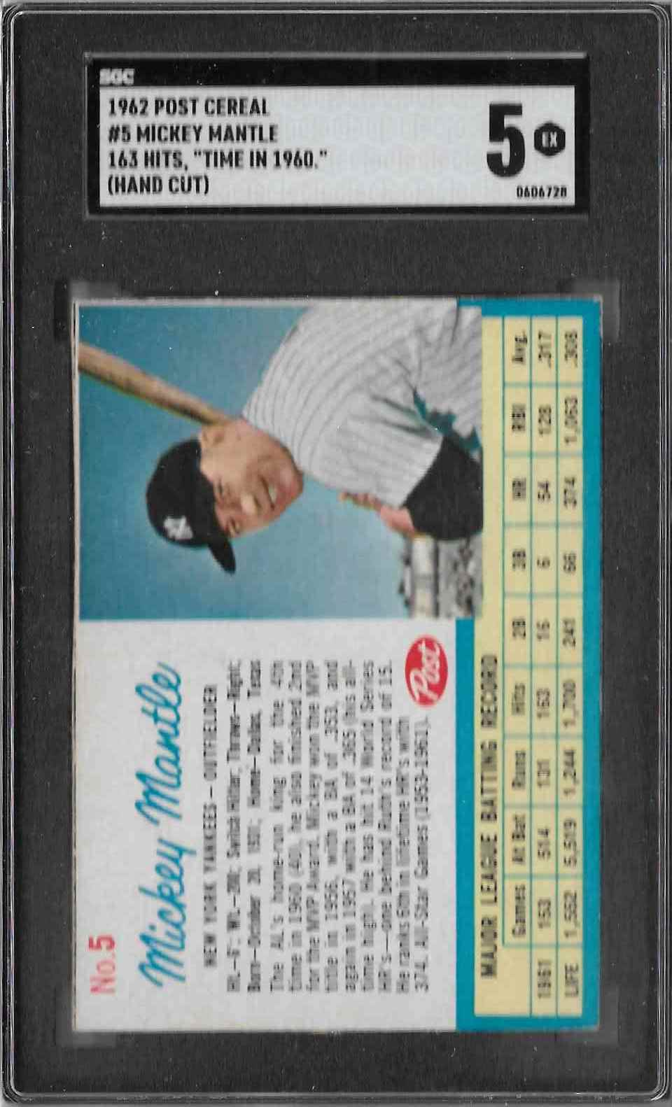 1962 Post Cereal Mickey Mantle #5 card front image