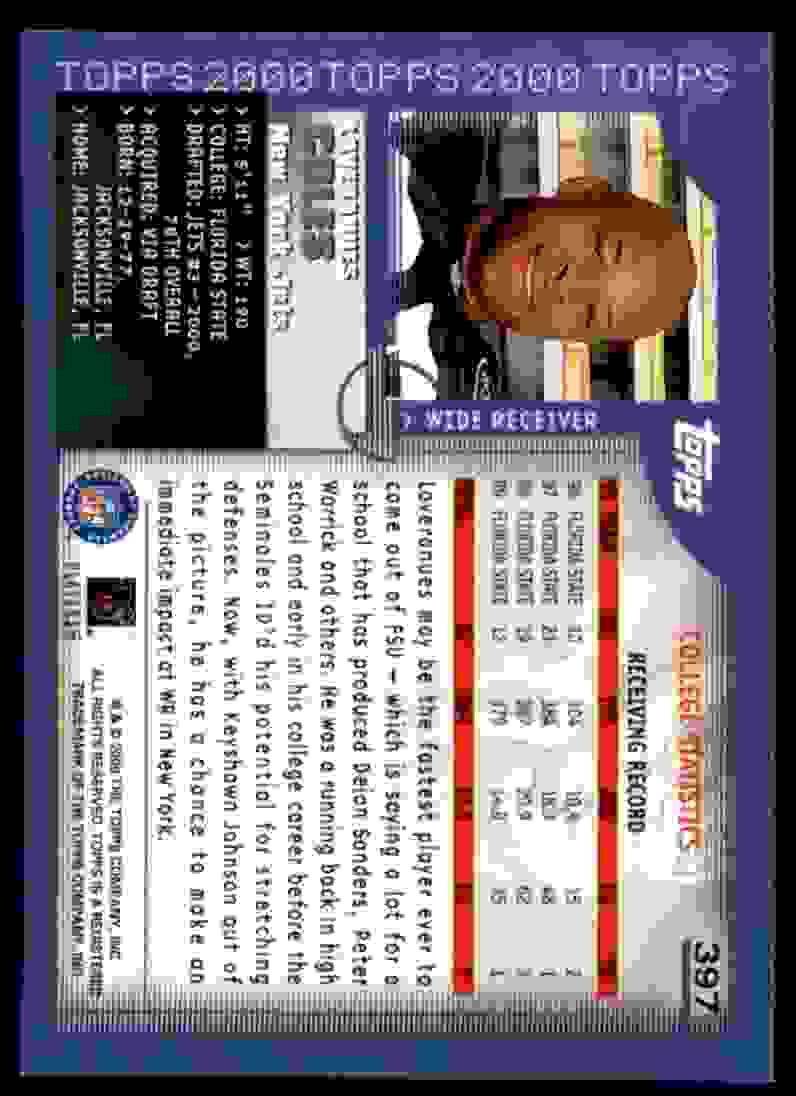 2000 Topps Laveranues Coles #397 card back image