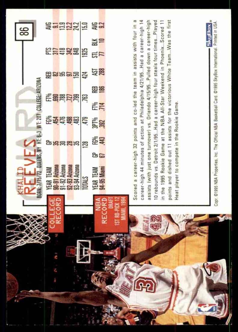 1995-96 Hoops Khalid Reeves #86 card back image