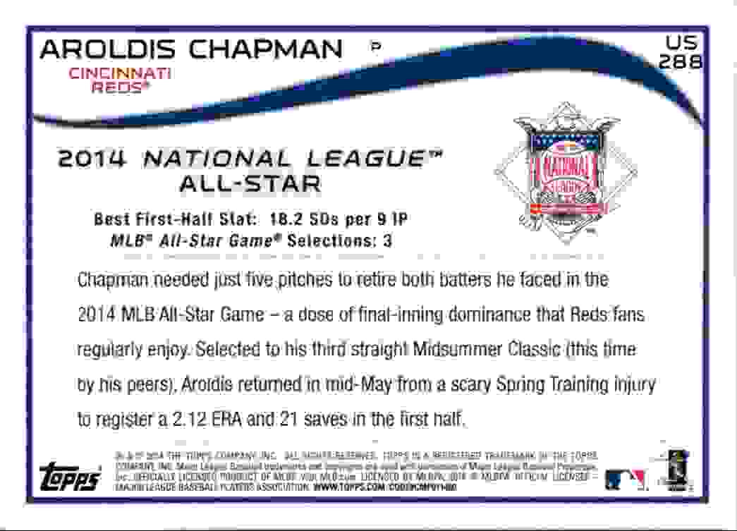 2014 Topps Update Aroldis Chapman ASG #US-288 card back image