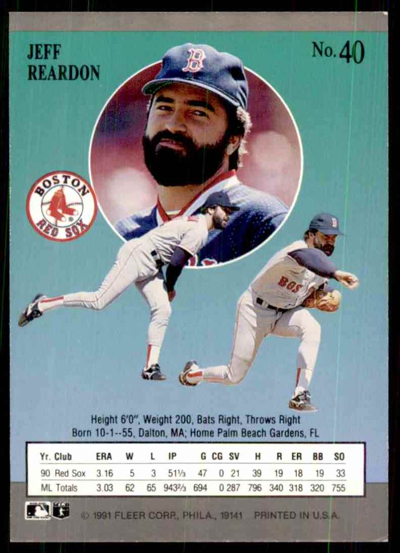 1991 Ultra Jeff Reardon #40 card back image