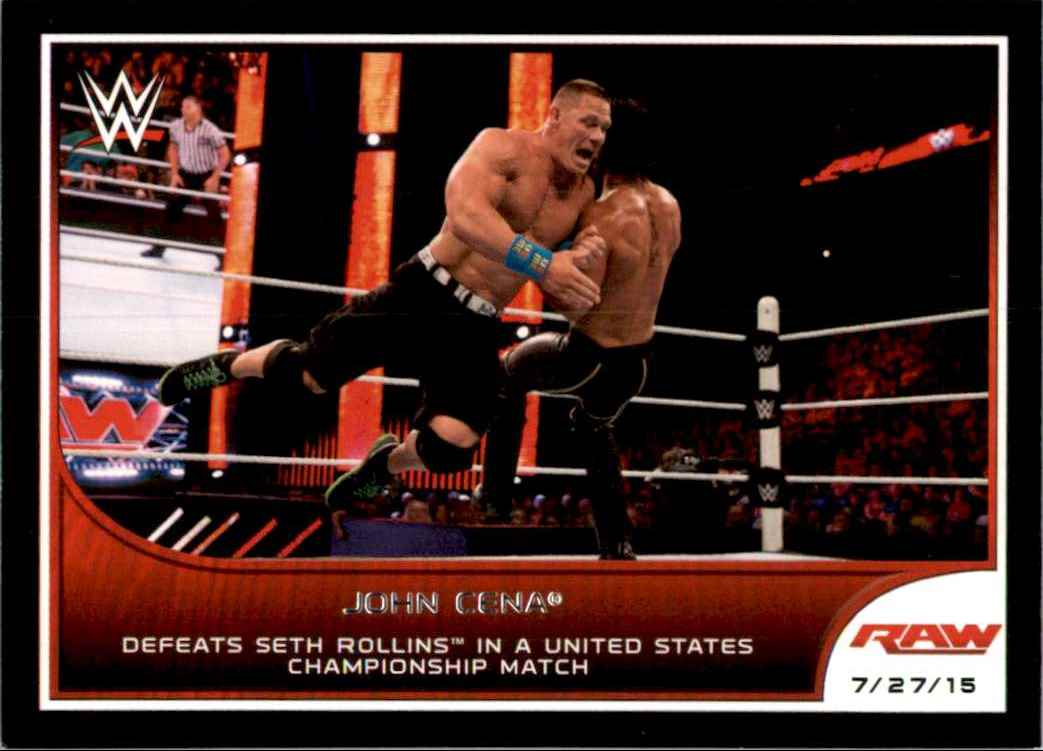 2016 Topps Wwe Road To WrestleMania John Cena Defeats Seth Rollins In A United States Championship Match #69 card front image