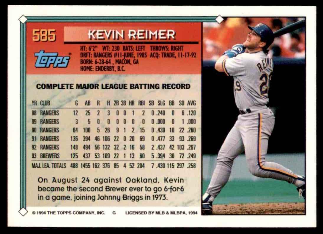 1994 Topps Kevin Reimer #585 card back image