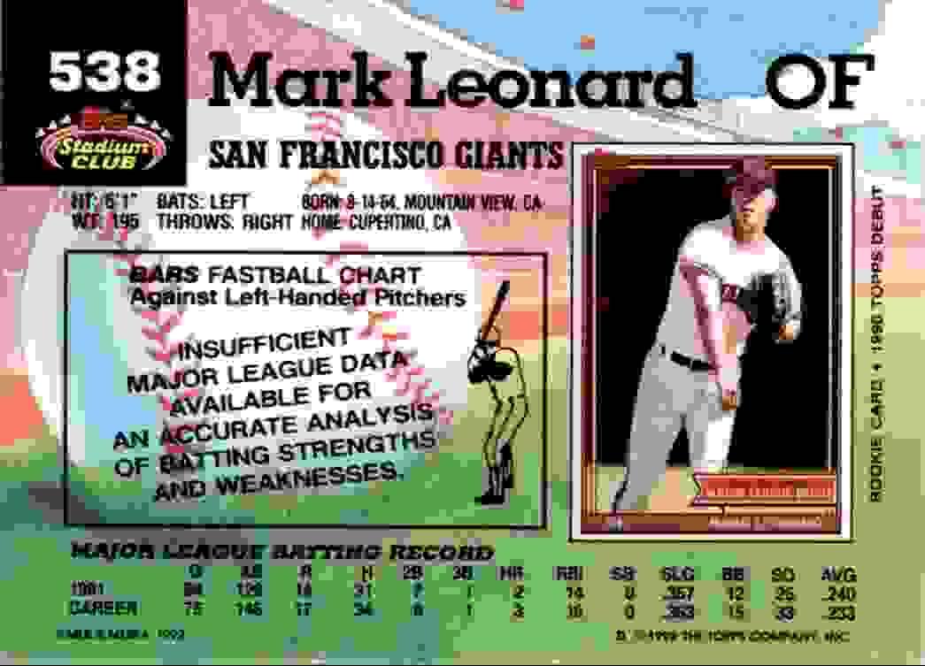 1992 Stadium Club Mark Leonard #538 card back image