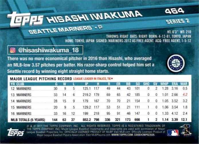 2017 Topps Series 2 Hisashi Iwakuma #464 card back image