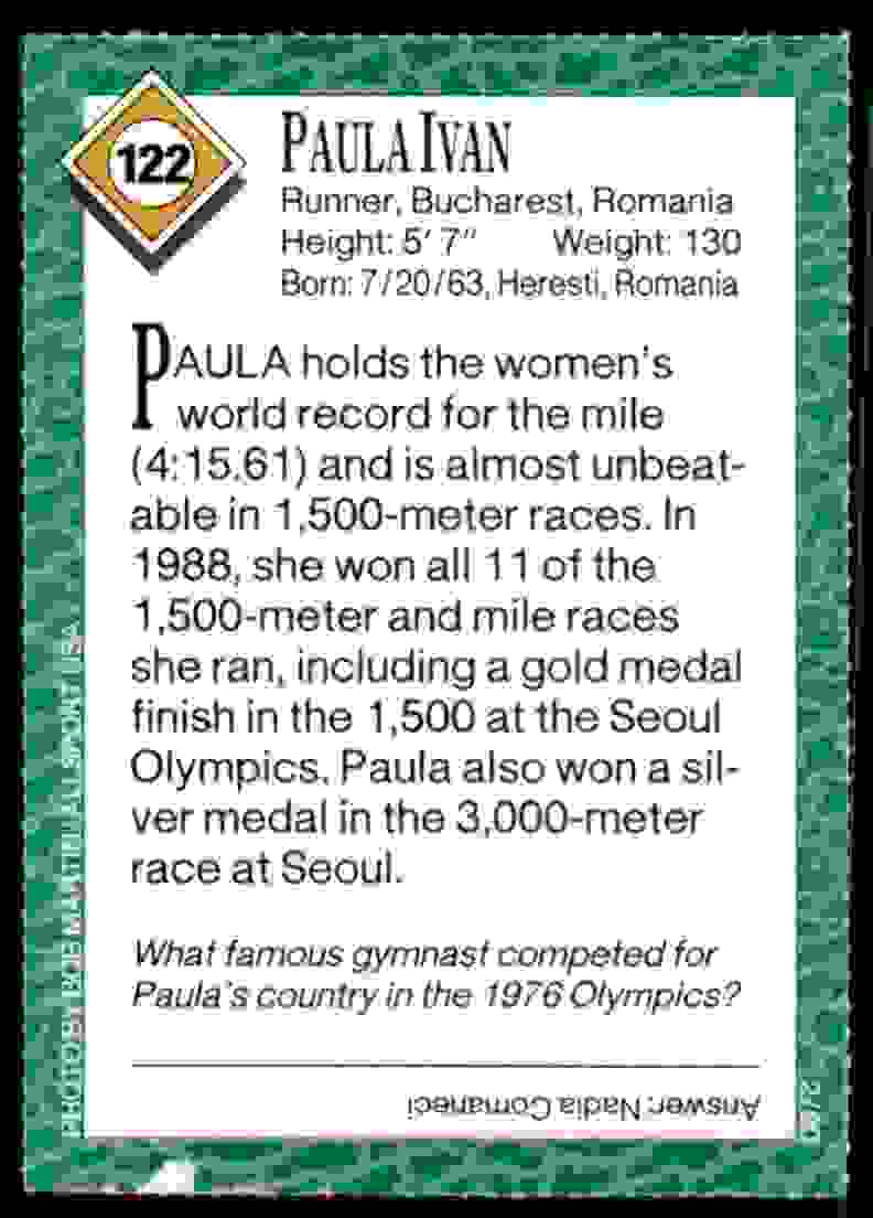 1990-91 Sports Illustrated For Kids Paula Ivan/Track And Field #122 card back image