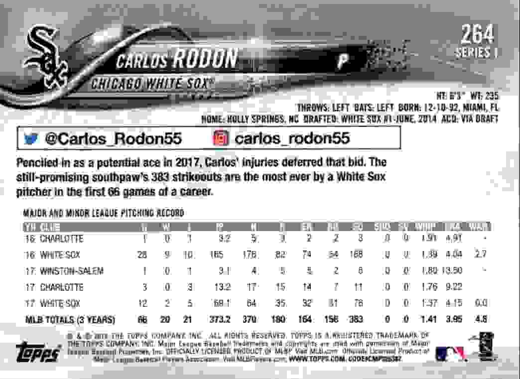 2018 Topps Carlos Rodon #264 card back image