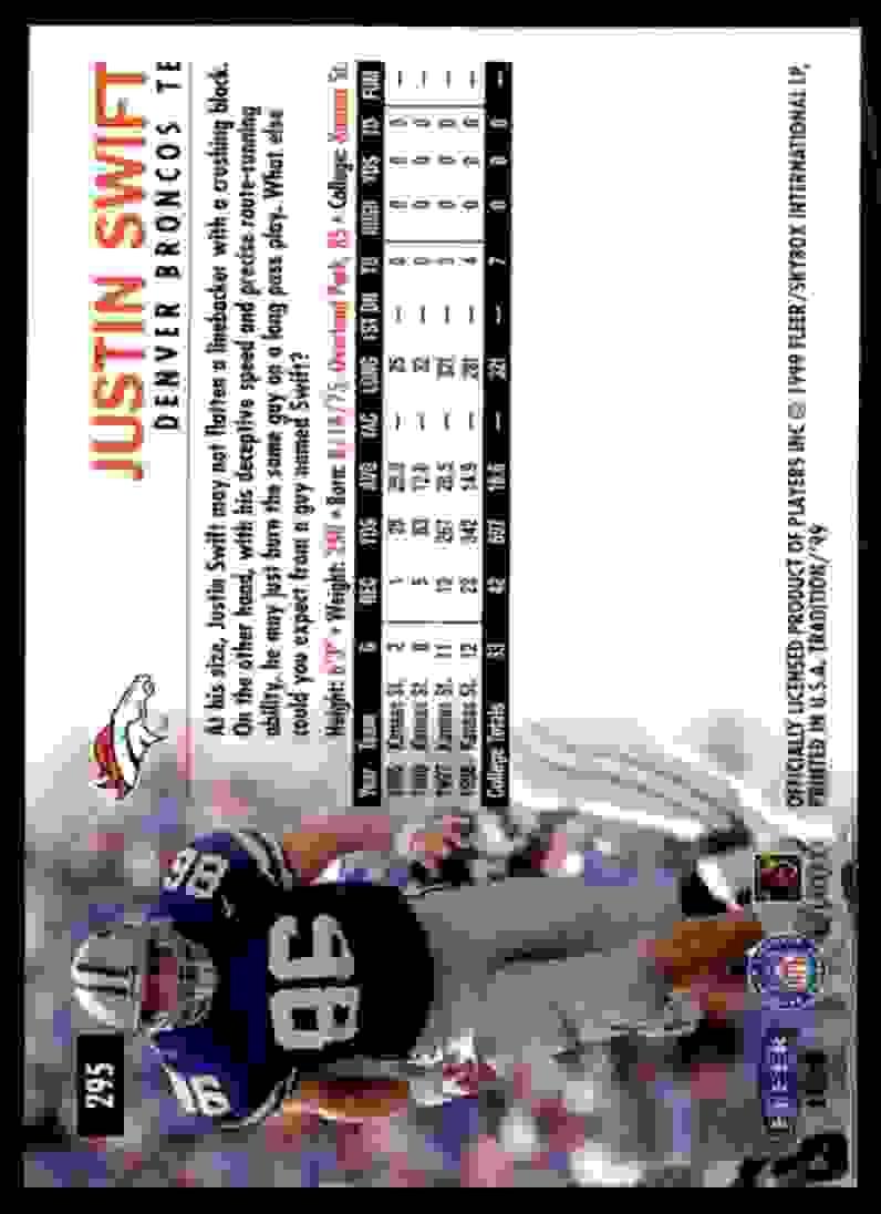 1999 Fleer Tradition Justin Swift #295 card back image