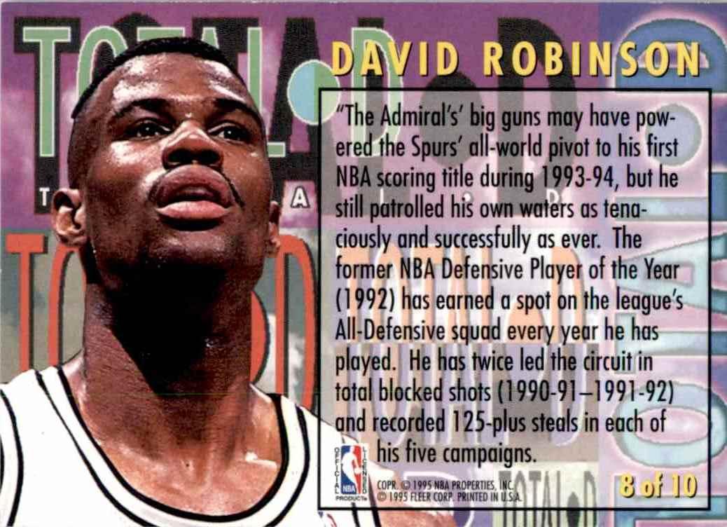 1994-95 Fleer Total D David Robinson #8 card back image