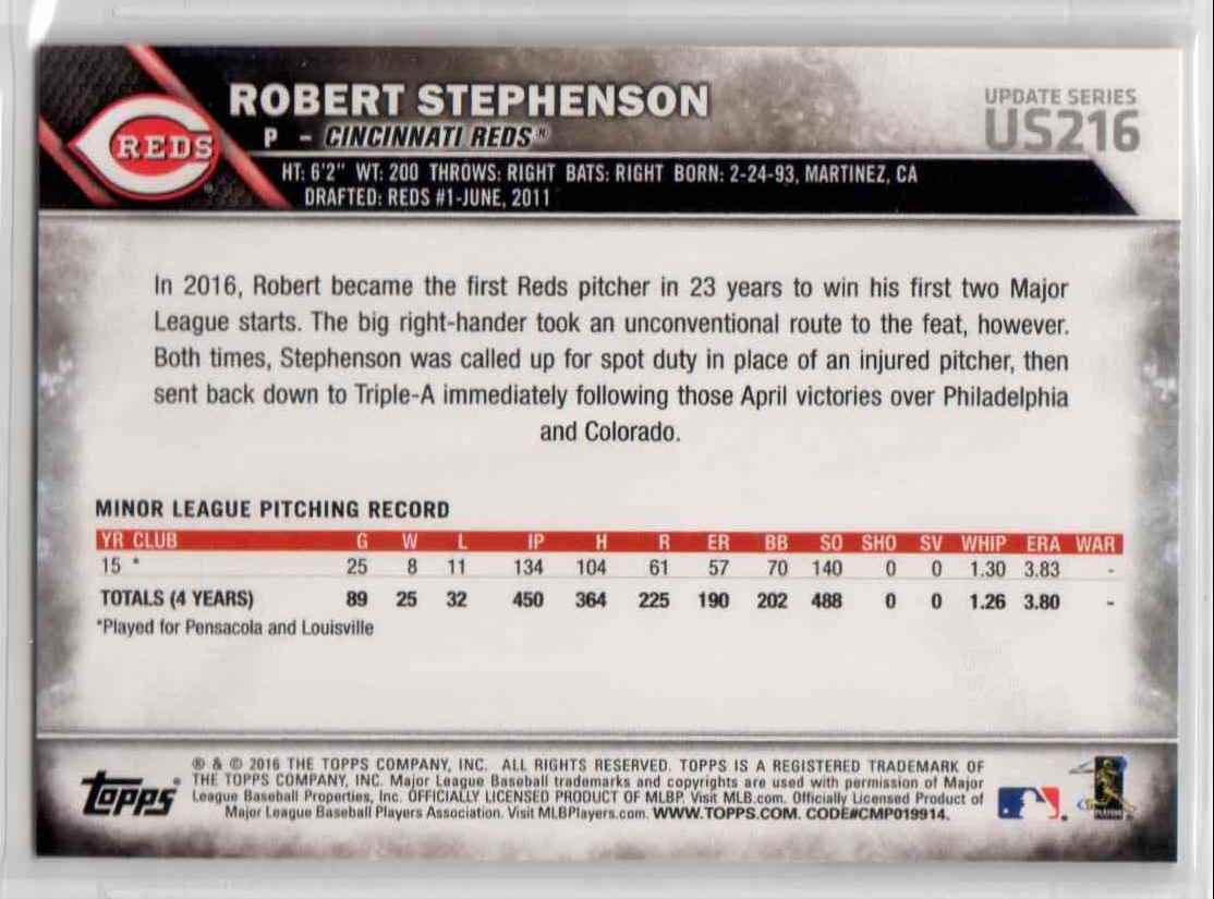 2016 Topps Update Robert Stephenson #US216 card back image