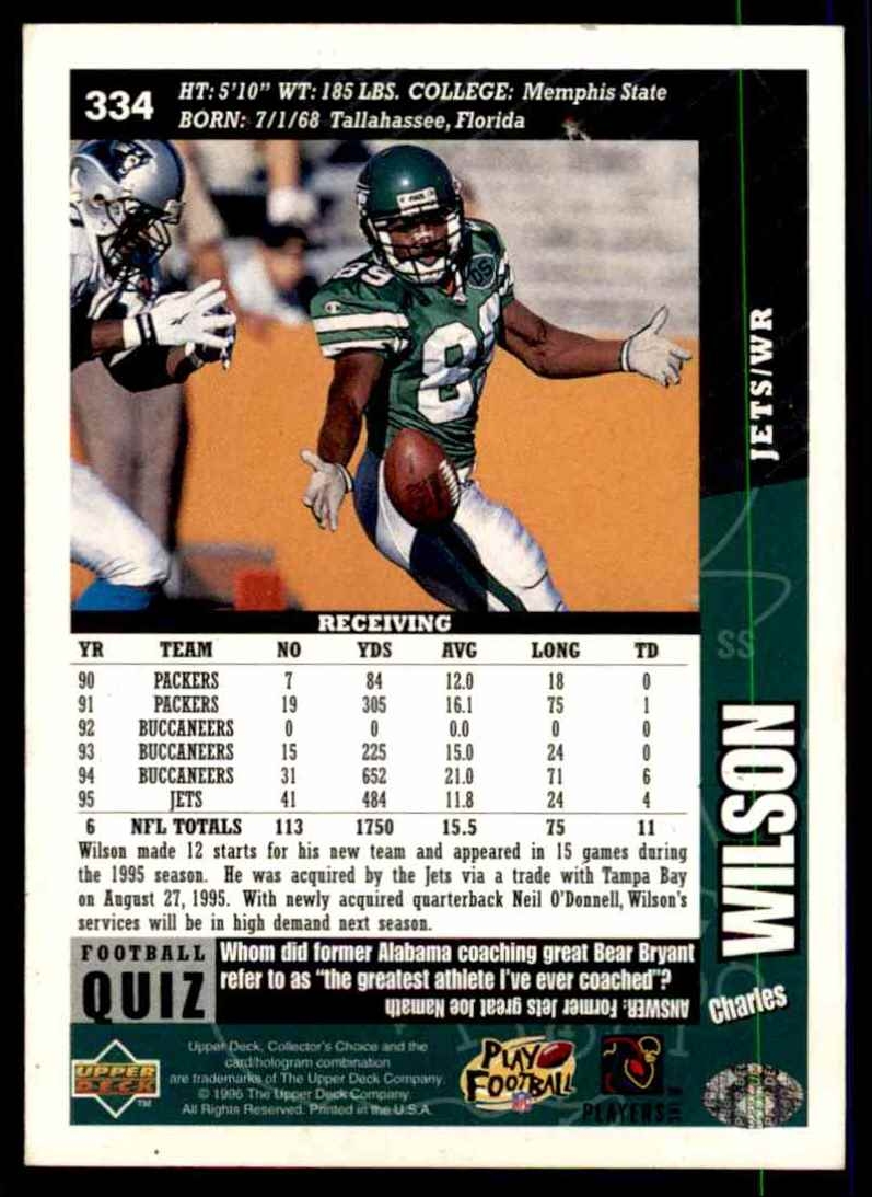1996 Collector's Choice Charles Wilson #334 card back image