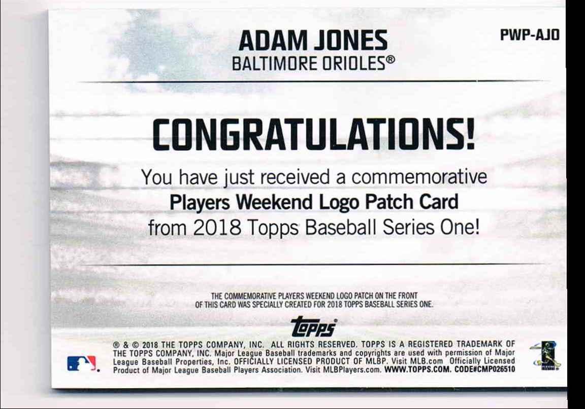 29728ef13 Real card back image 2018 Topps Adam Jones  PWP-AJO card back image