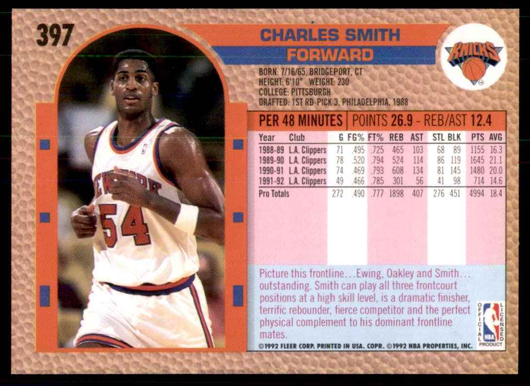 1992-93 Fleer Charles Smith #397 card back image