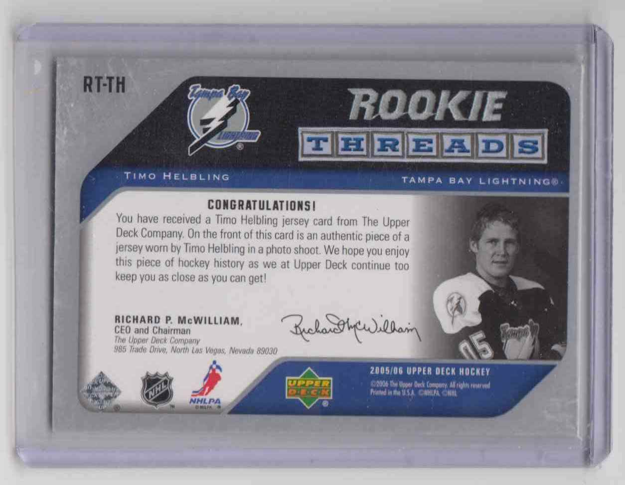 2005-06 Upper Deck Rookie Threads Timo Helbling #RT-TH card back image