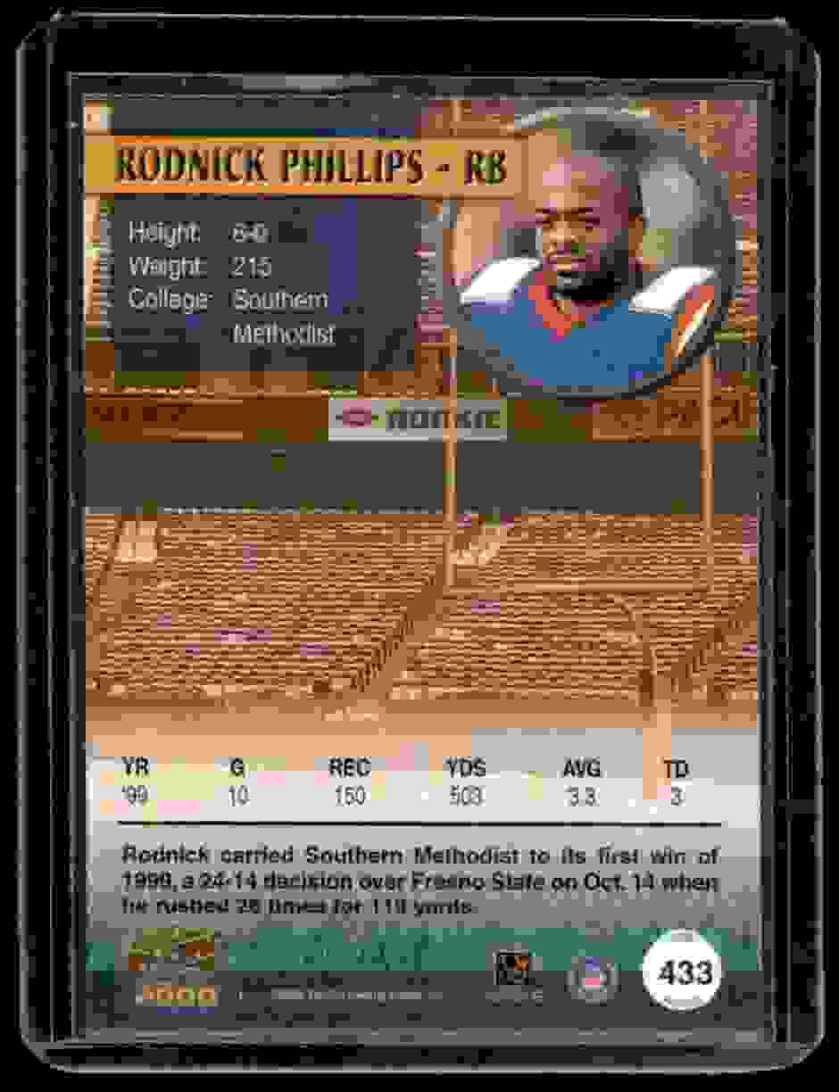 2000 Pacific Draft Picks Rodnick Phillips #433 card back image