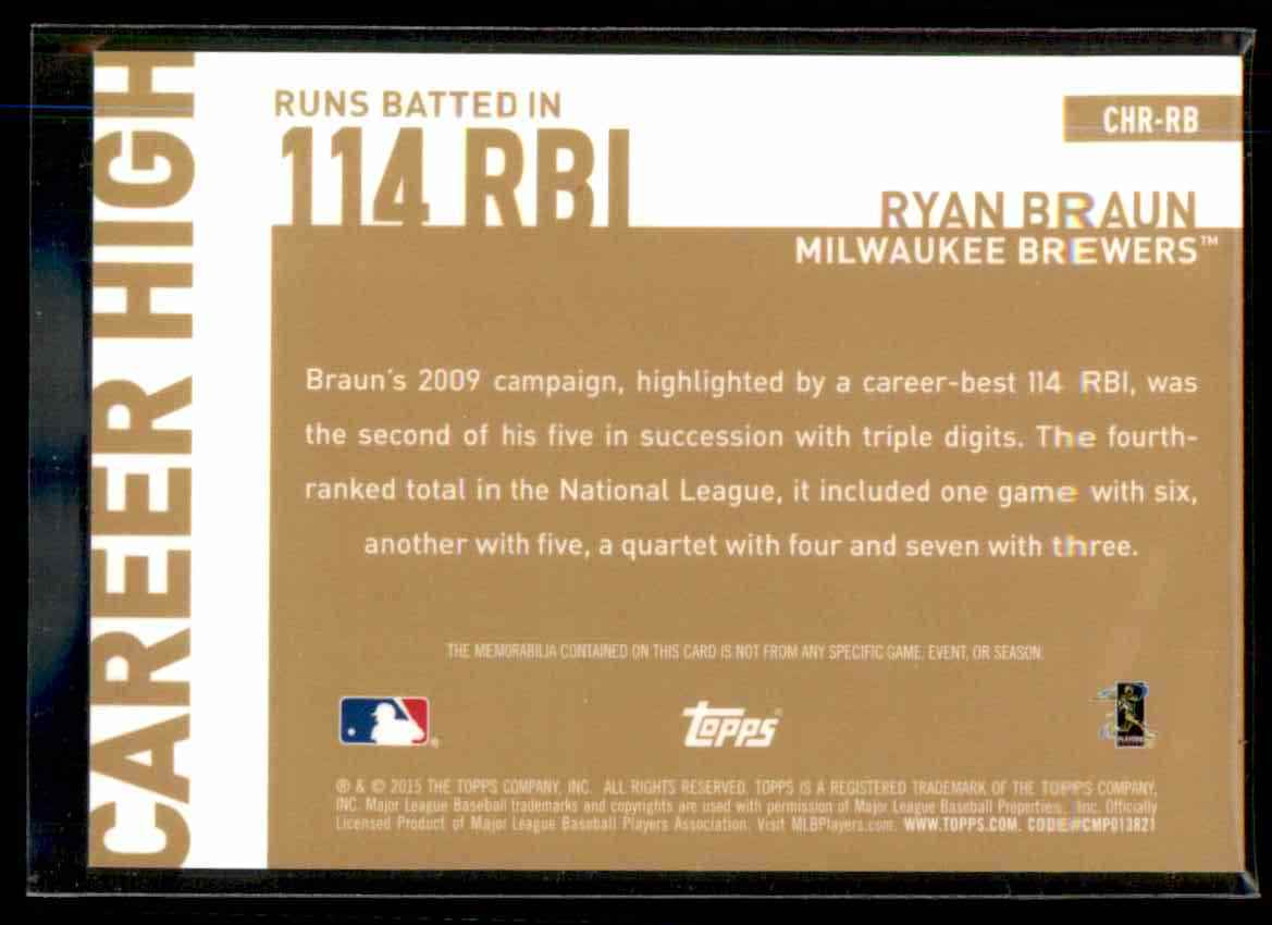 2015 Topps Career High Relics Ryan Braun S2 #CHRRB card back image