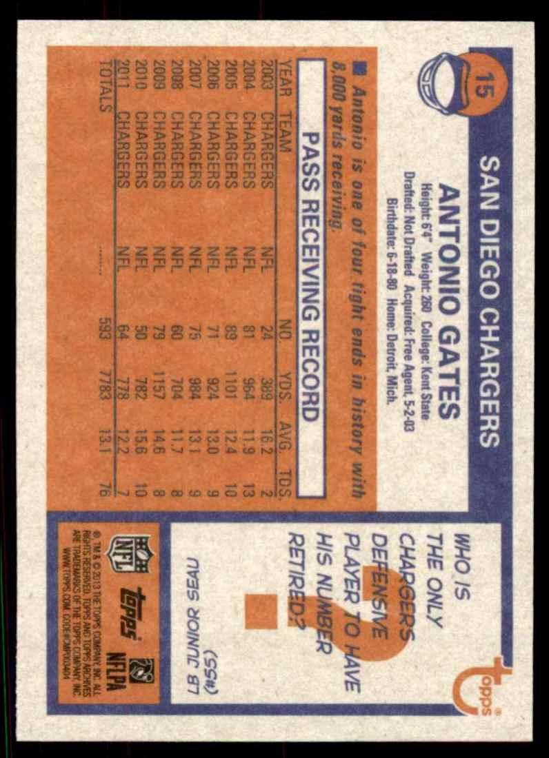 2013 Topps Archives Antonio Gates #15 card back image