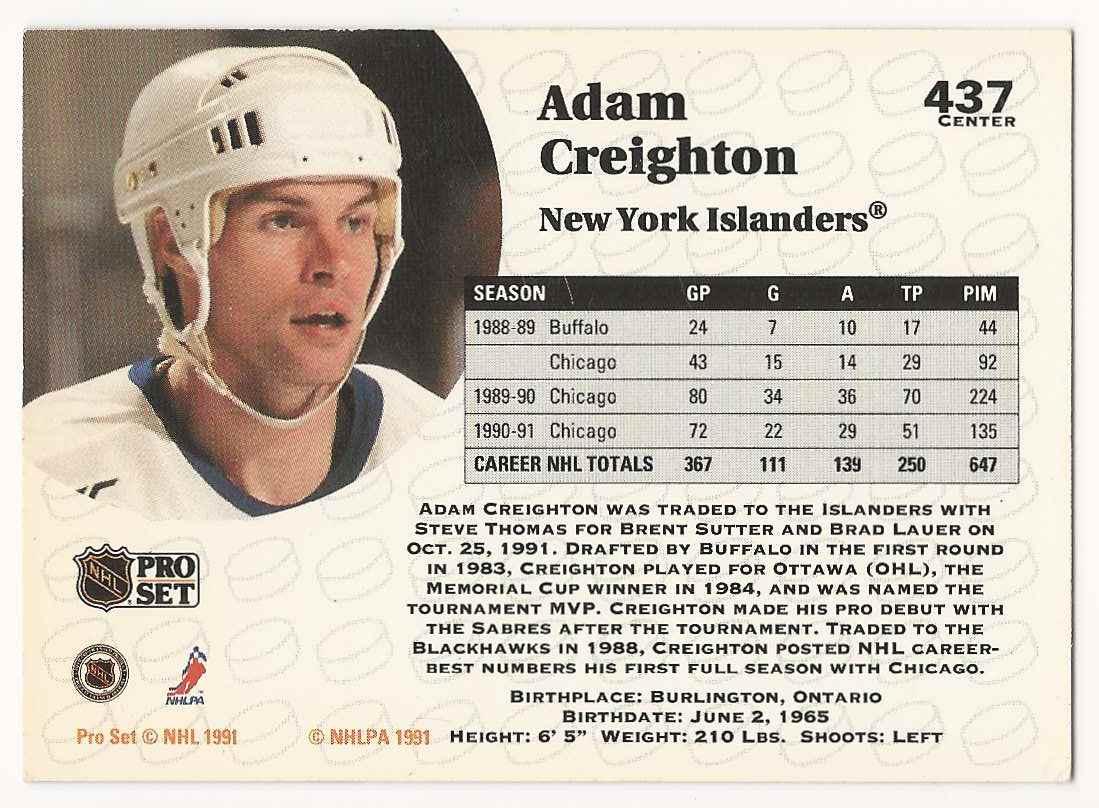 1991-92 Pro Set Adam Creighton #437 card back image