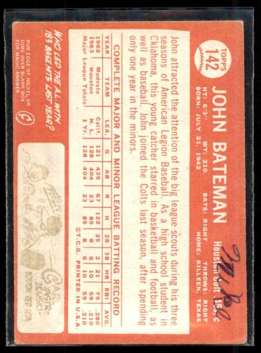 1964 Topps John Bateman #142 card back image