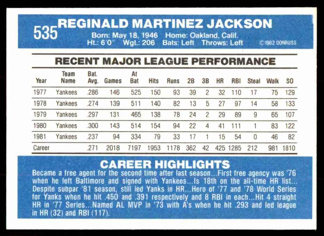 1982 Donruss Reggie Jackson #535 card back image
