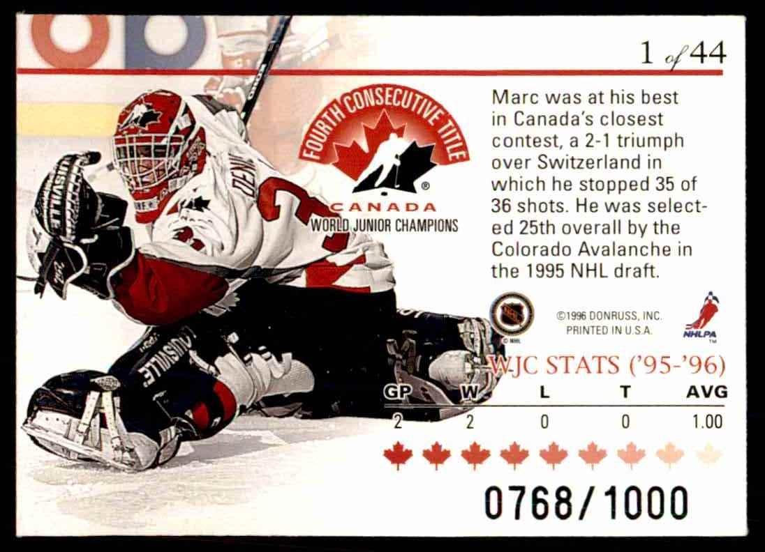 1995-96 Donruss Elite World Juniors Marc Denis #1 card back image