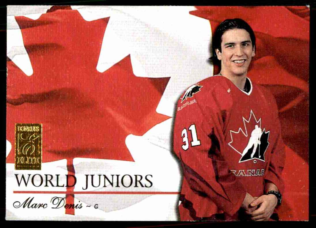 1995-96 Donruss Elite World Juniors Marc Denis #1 card front image