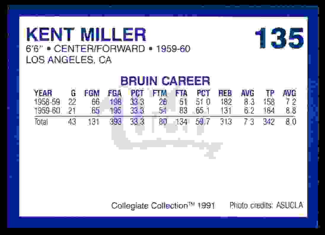 1991-92 Tm Collegiate Collection Kent Miller #135 card back image