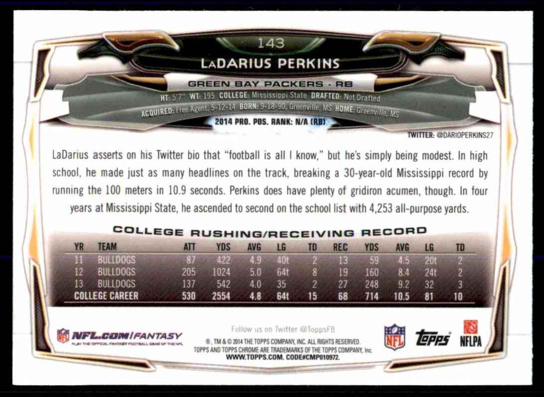 2014 Topps Chrome LaDarius Perkins RC #143 card back image