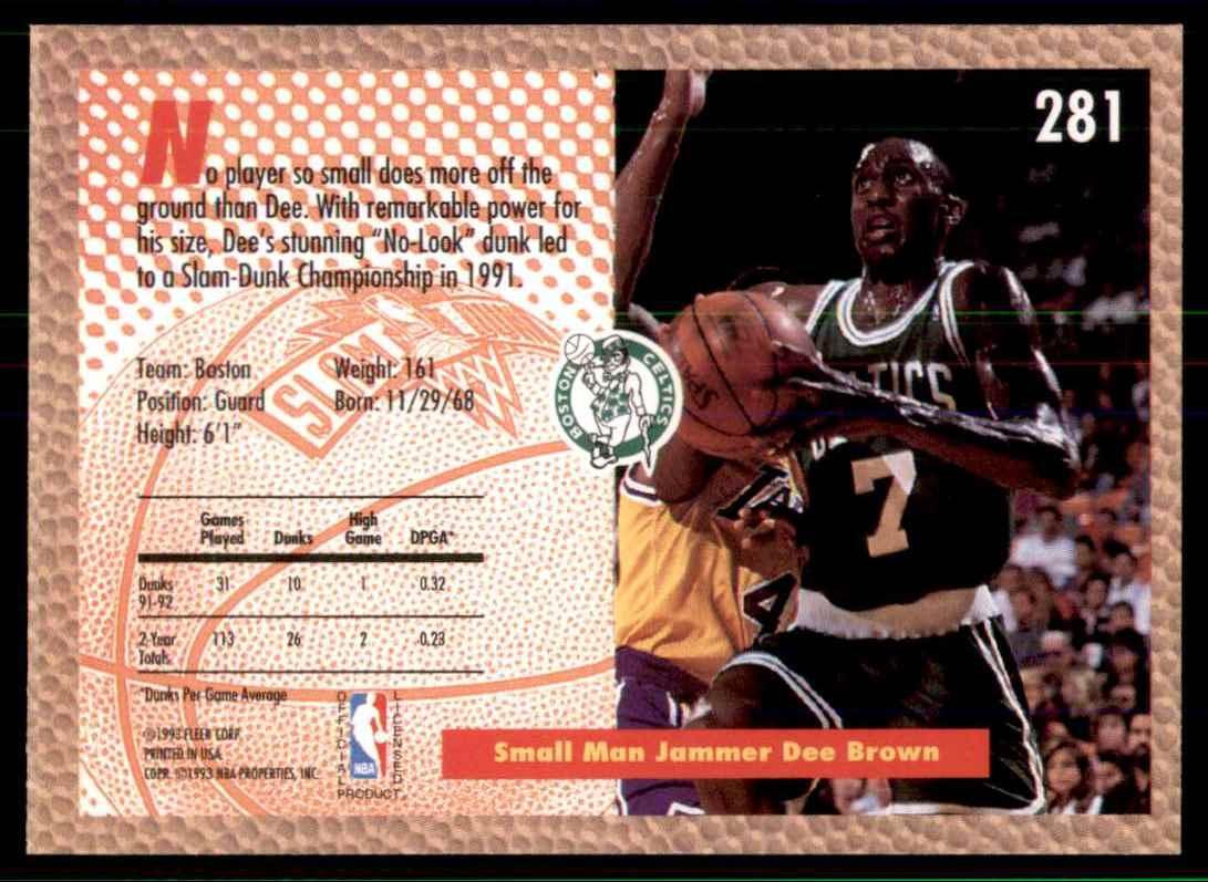 1992-93 Fleer Dee Brown Sd #281 card back image