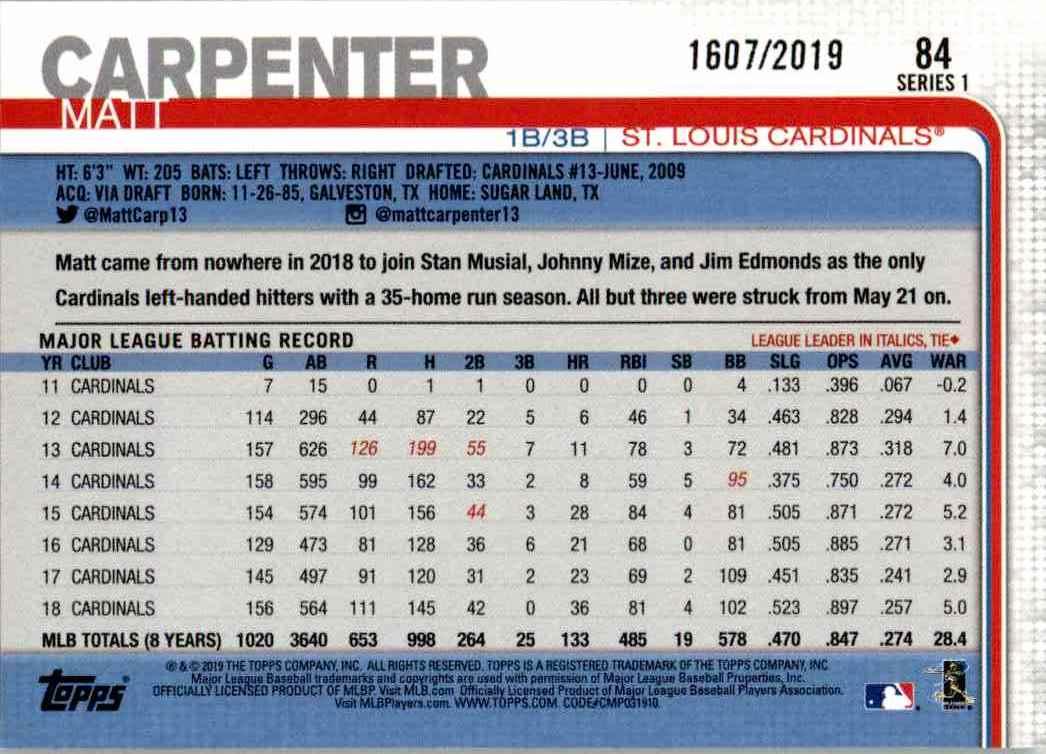 2019 Topps Gold Border Matt Carpenter #84 card back image
