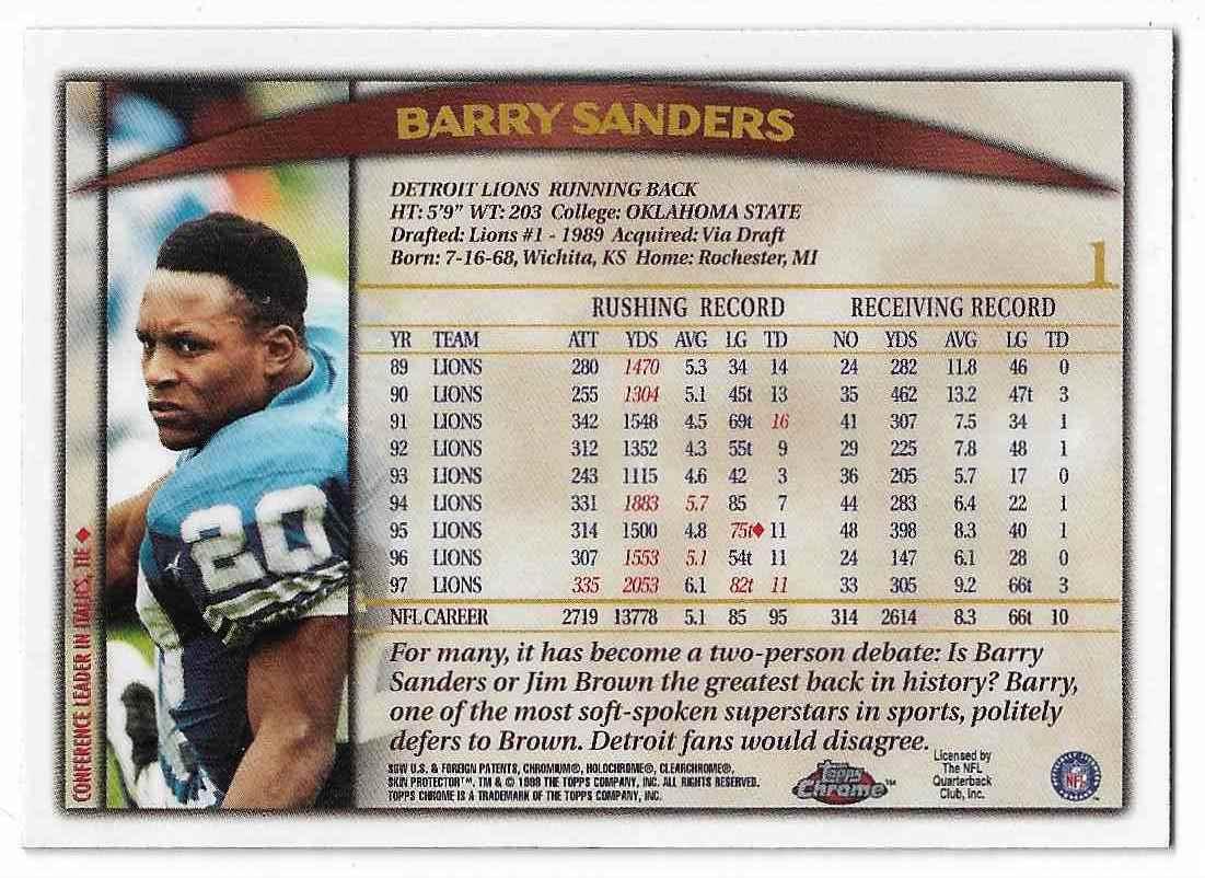 1998 Topps Chrome Barry Sanders #1 card back image