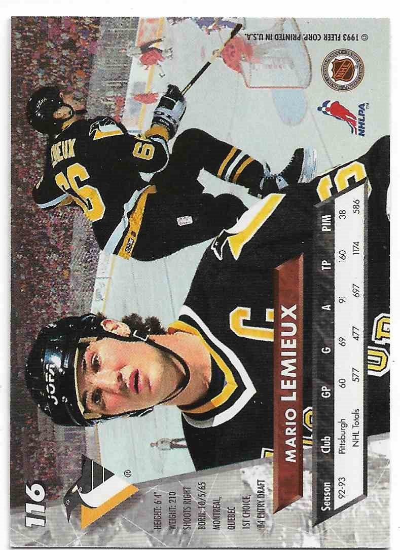 1995-96 Fleer Ultra #391 Mario Lemieux Pittsburgh Penguins tarjeta
