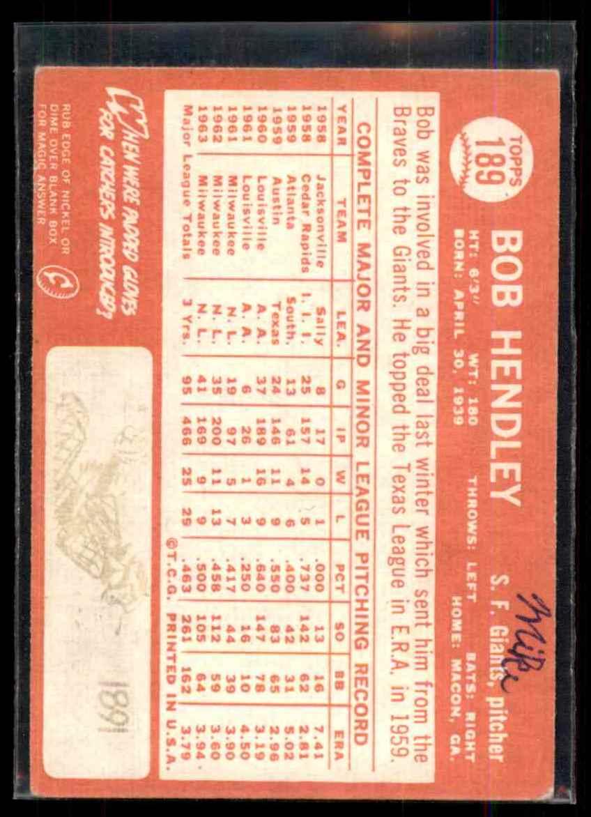 1964 Topps Bob Hendley #189 card back image
