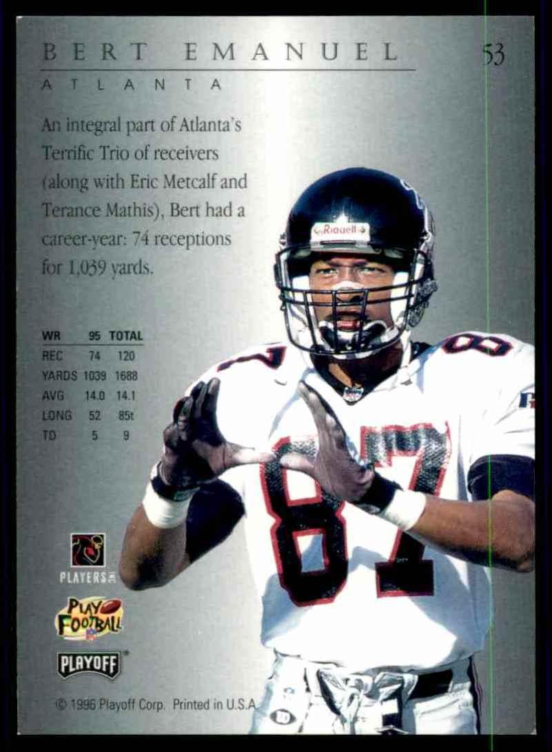 1996 Playoff Trophy Contenders Bert Emanuel #53 card back image
