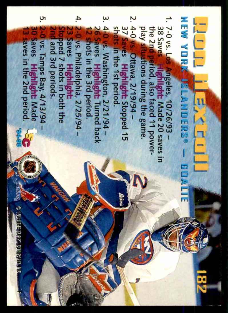 1994-95 Stadium Club Ron Hextall So #182 card back image