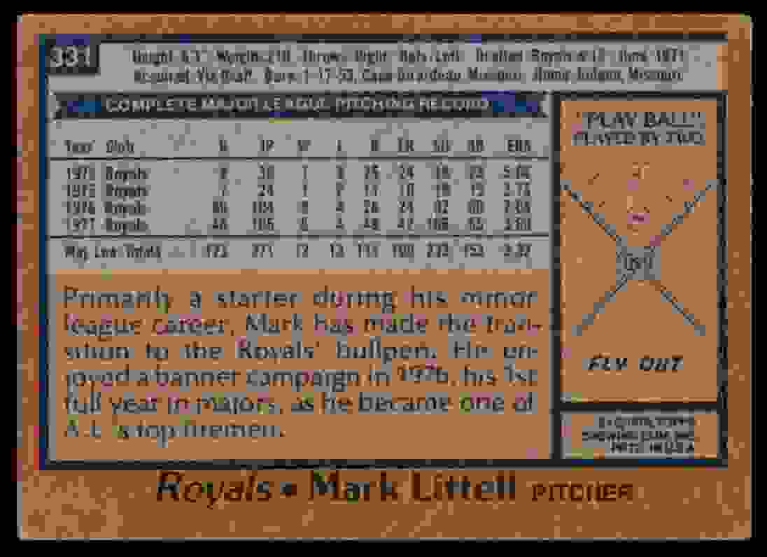 1978 Topps Mark Littell #331 card back image
