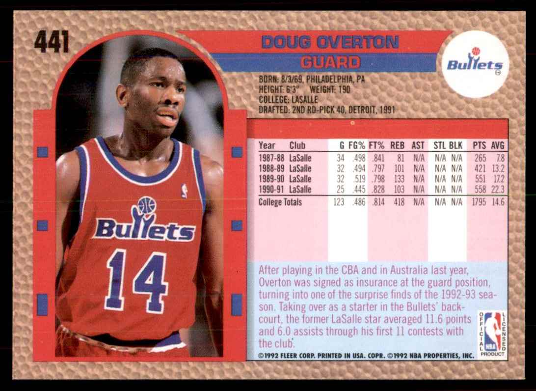 1992-93 Fleer Doug Overton #441 card back image