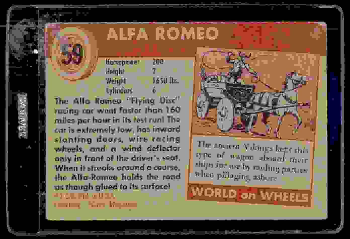 1954 Topps World On Wheels Alfa Romeo #59 card back image